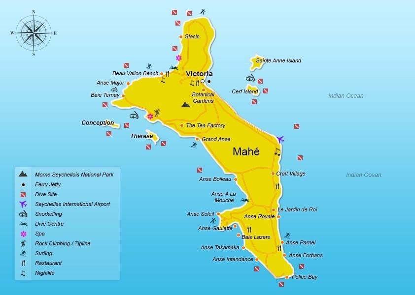 Mahe Seychelles Travel Tips Seychellesbookingscom - Map of seychelles world